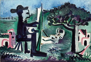 Pablo Picasso. The painter and his model in a landscape II