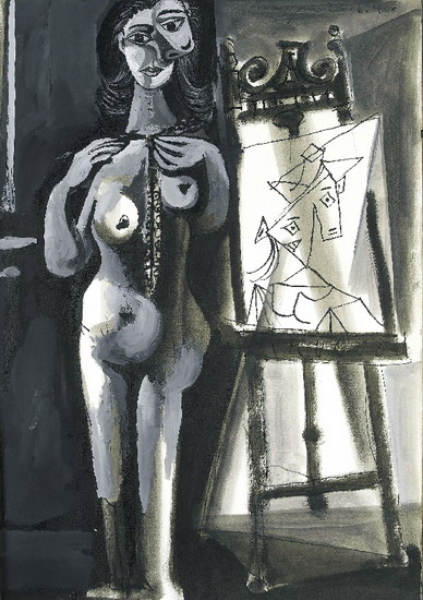 Pablo Picasso. L`atelier- standing naked woman Bust, 1940