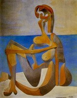 Seated Bather at the seaside