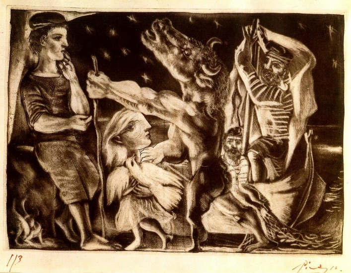 Pablo Picasso. Minotaur guide blind girl in IVb night (Vollard Suite L92), 1934
