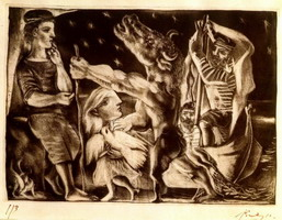 Pablo Picasso. Minotaur guide blind girl in IVb night (Vollard Suite L92)