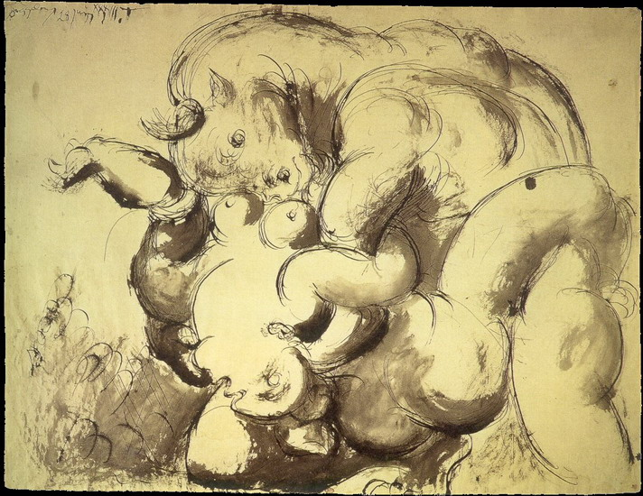 Pablo Picasso. Minotaur and Naked (Rape), 1933