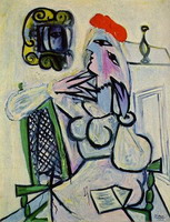 Pablo Picasso. Woman sitting with a red hat