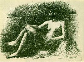 Nude female sitting