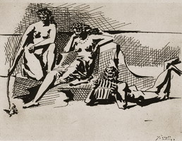 Two bathers and flЦte player Pan