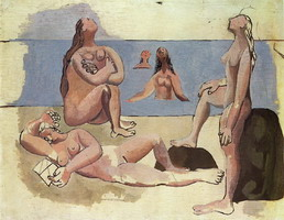 Pablo Picasso. Bathers watching a plane [Five Bathers]