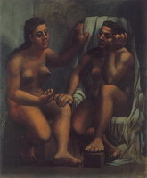 Two seated bathers