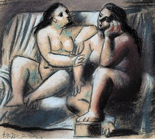 Two seated naked women