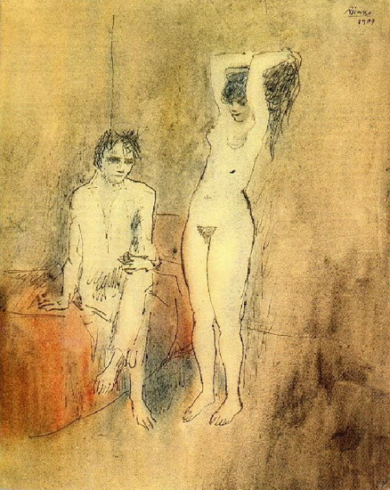 Pablo Picasso. Naked man sitting and standing naked woman, 1904
