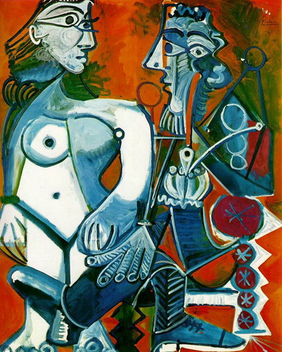 Pablo Picasso. Nude woman and man with a pipe, 1968