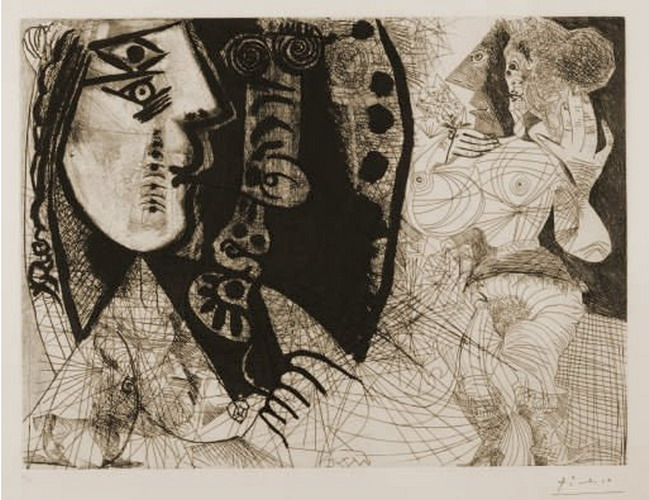 Pablo Picasso. Suite 156 L155 (torque: woman and dog-man, woman with the flower), 1972