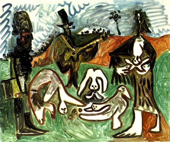 Pablo Picasso. Guitarist and characters in a landscape II, 1960
