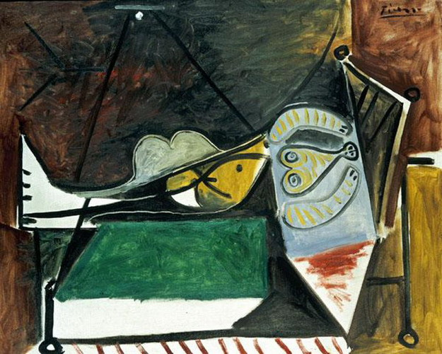 Pablo Picasso. Woman couchee under the lamp, 1960